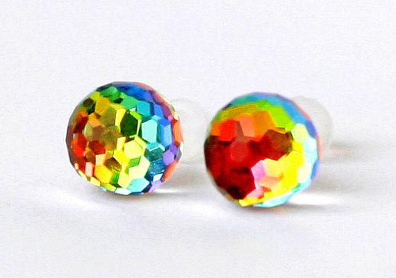 Swarovski Earrings Rainbow Vitrail Changing Colors Post Studs Gl